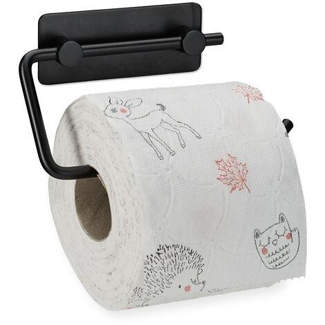 Toilettenpapierhalter ohne Bohren, 430er Edelstahl, Klopapierhalter selbstklebend, Wandmontage, schwarz matt