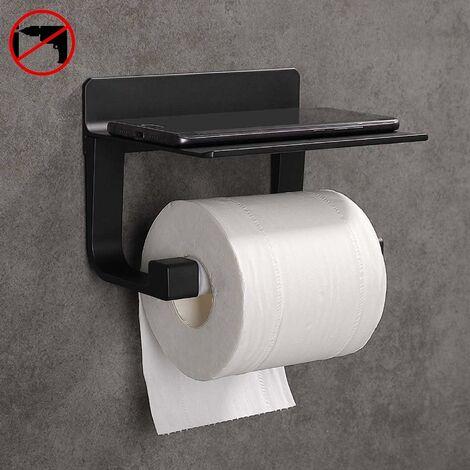 Toilettenpapierhalter Ohne Bohren Selbstklebende Toilettenpapierhalter Ohne Bohren, Space Aluminium, Matte Finish Schwarz