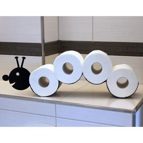 Toilettenpapierhalter Raupe WC Ersatzrollenhalter Wandmontage Schwarz Metall