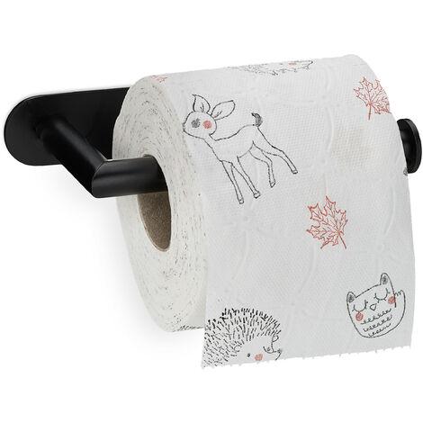 Toilettenpapierhalter selbstklebend, 430er Edelstahl, Wandmontage ohne Bohren, Klopapierhalter, schwarz matt