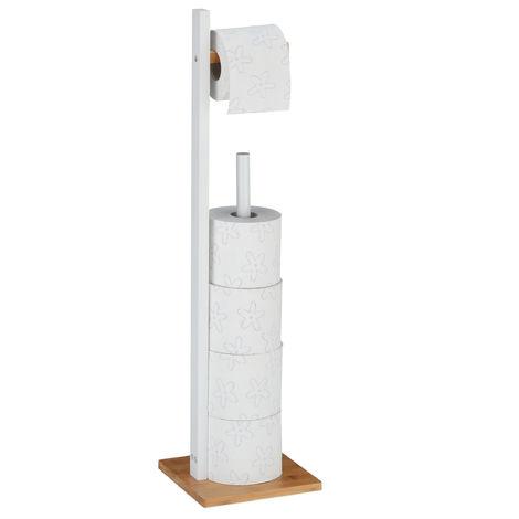Toilettenpapierhalter stehend, Bambus, mit Ersatzrollenhalter, max. 5 Rollen, HBT: 71 x 19 x 19 cm, weiß/natur