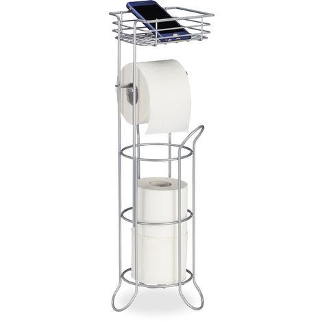 Toilettenpapierhalter stehend, mit Ablage, 3 Rollen Klopapier, modern, Metall, HBT: 57,5x18,5x17,5 cm, silber