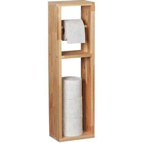Toilettenpapierhalter, Walnuss Holz, zur Wandmontage oder stehend, Ersatzrollenhalter HxBxT 70x20x13 cm, natur