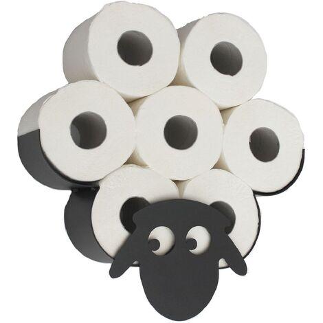Toilettenpapierhalter Wandmontage Schwarz Metall Schaf WC Ersatzrollenhalter Süß