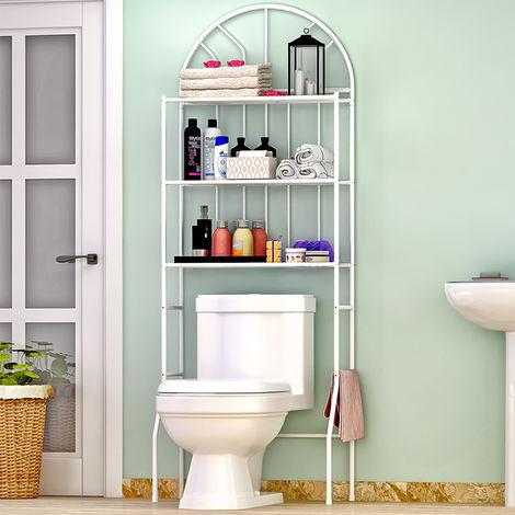 Toilettenregal Badezimmerregal Badregal Badezimmerregal Lagerregal Metall Weiß 65x34x177cm