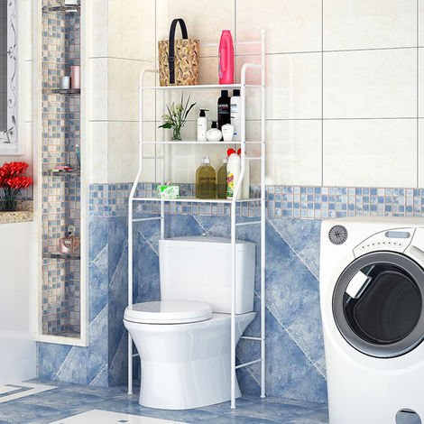 Toilettenregal Badezimmerregal Waschmaschinenregal Allzweck Regal weiß 165*55*26cm