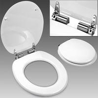 Toilettensitz mit Absenkautomatik, weiß - Deuba - stabile Metallscharniere - justierbare Anschlüsse - MDF Deckel