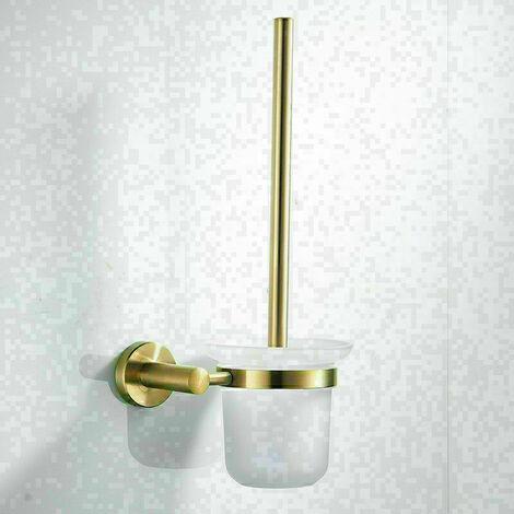Toilettes Brosse de Nettoyage Brosse for Toilettes Porte Mural d'or en Acier Inoxydable Brossé Bain Étagère Accessoires De Bain WC Brosse Salle De Bains Matériel pour Salle de Bains
