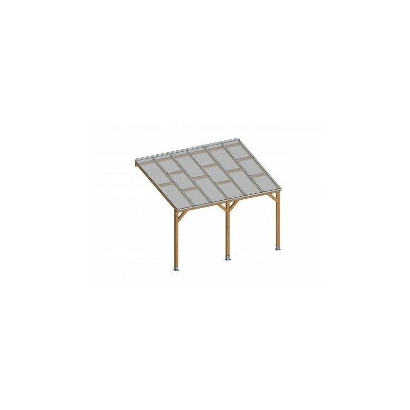 Toit Couv'Terrasse® en bois 3x3,7 m - Avec toit polycarbonate