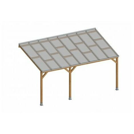 Toit Couv'Terrasse® en bois 3x4,9 m - Avec toit polycarbonate