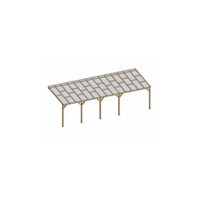 Toit Couv'Terrasse® en bois 3x8,6 m - Avec toit polycarbonate