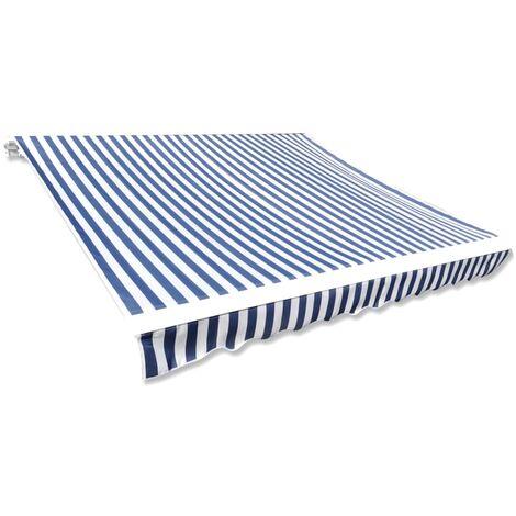 Toit d'auvent Toile Bleu et blanc 3x2,5 m (Cadre non inclus)