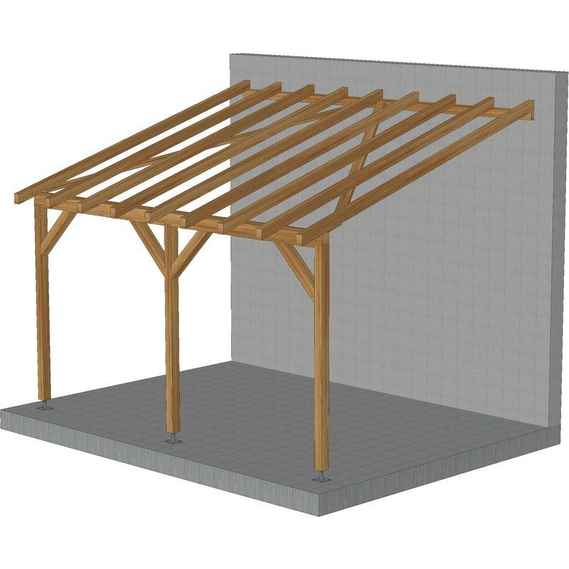 Toit de terrasse |4x3| - Tuilable pente 30% - Bois massif traité CL3 Marron - Robuste |+ Vis & pieds de poteaux réglables