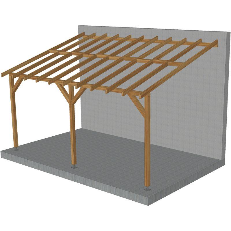 Toit de terrasse |5x3| - Pente 30% - Bois massif traité CL3 Marron - Durable |+ Vis & pieds de poteaux réglables