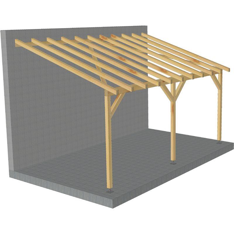 Toit de terrasse |5x3| - Tuilable pente 30% - Bois massif traité CL3 Marron - Robuste |+ Vis & pieds de poteaux réglables