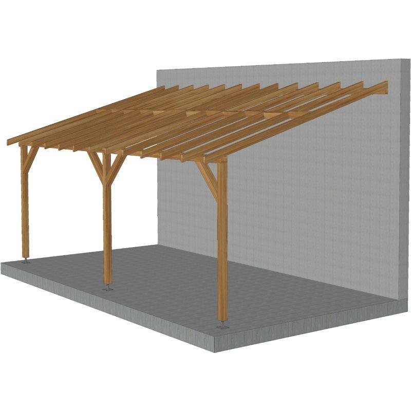 Toit de terrasse |6x3| - Pente 30% - Bois massif traité CL3 Marron - Durable |+ Vis & pieds de poteaux réglables
