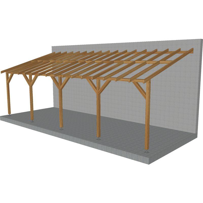 Jardinatoire - Toit de terrasse |8x3| - Pente 30% - Bois massif traité CL3 Marron - Durable |+ Vis & pieds de poteaux réglables