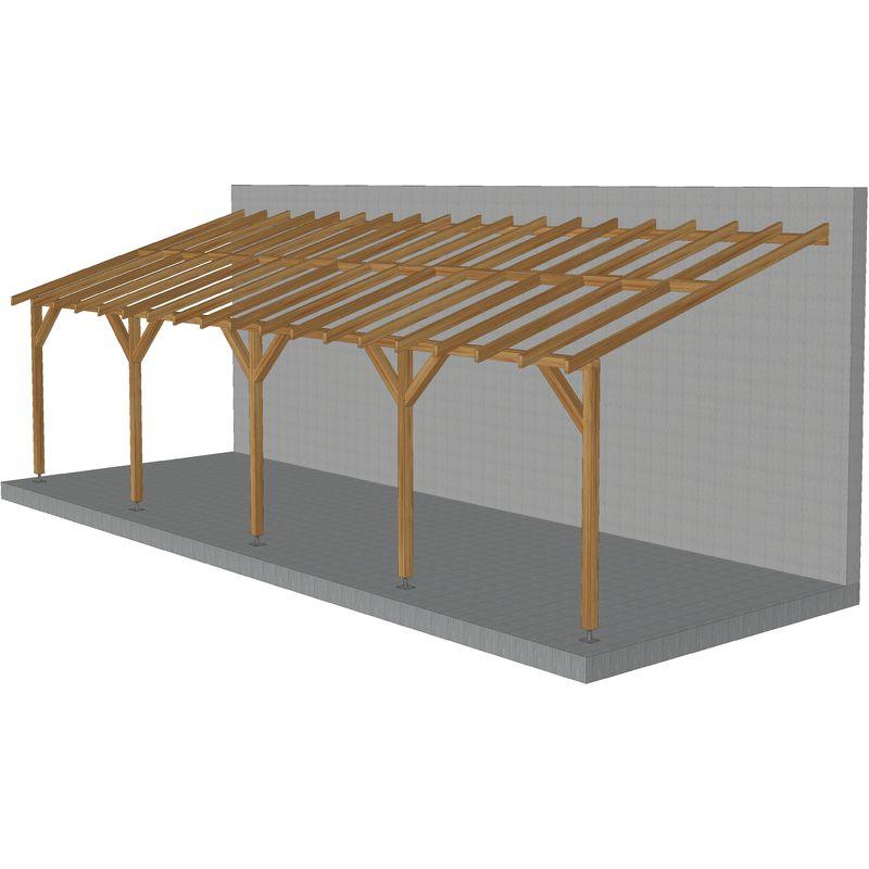 Toit de terrasse |9x3| - Pente 30% - Bois massif traité CL3 Marron - Durable |+ Vis & pieds de poteaux réglables