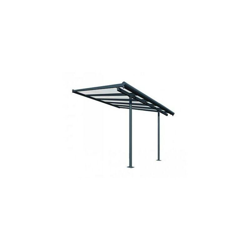 Chalet&jardin - Toit Terrasse SIERRA PATIO COVER 3x3 - Gris (Aluminium & Polycarbonate)