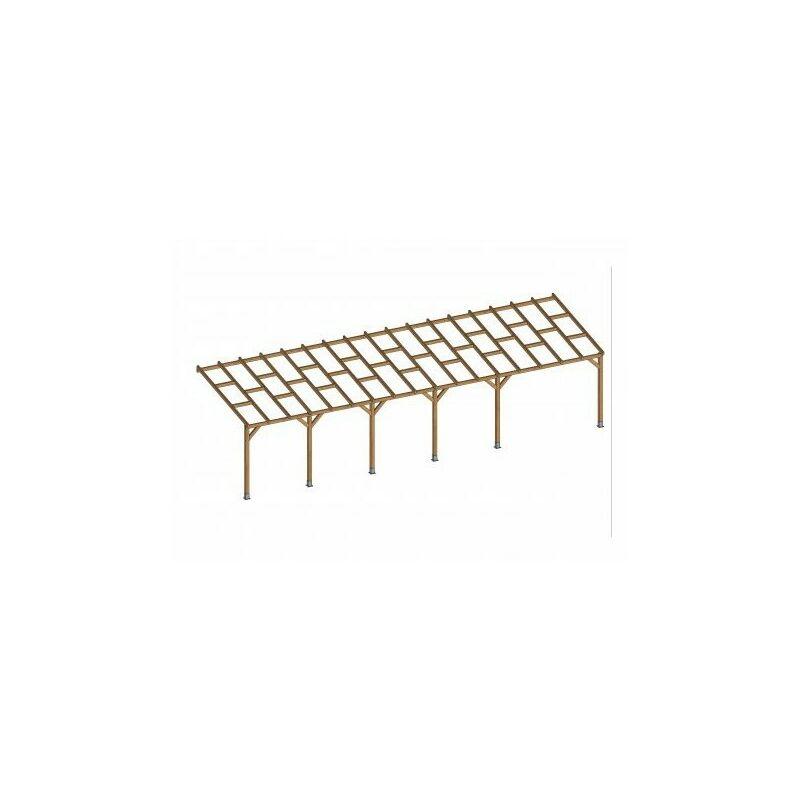 Toit Couv'Terrasse® en bois 3x10,4 m - Sans toit polycarbonate