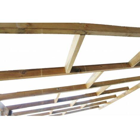 Toit Terrasse en bois 3x4,9 m - Sans toit polycarbonate