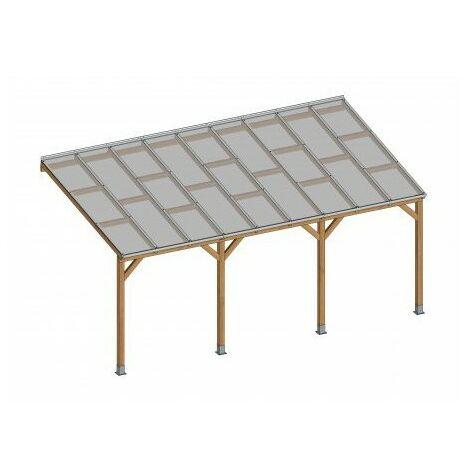 Toit Terrasse en bois 3x5,5 m - Avec toit polycarbonate