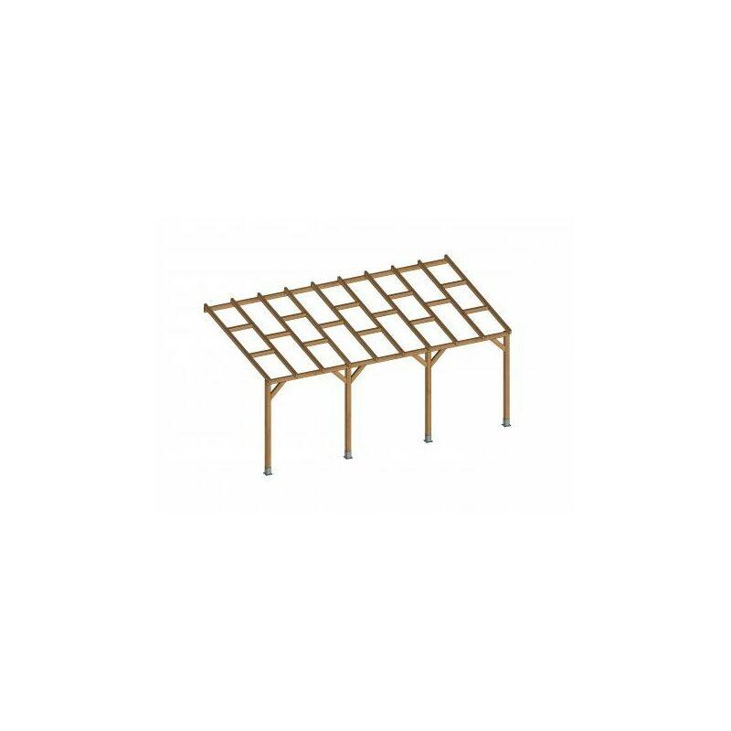 Chalet&jardin - Toit Couv'Terrasse® en bois 3x5,5 m - Sans toit polycarbonate
