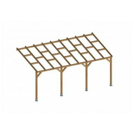 Toit Terrasse en bois 3x5,5 m - Sans toit polycarbonate