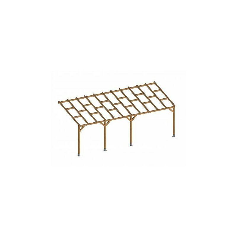 Toit Couv'Terrasse® en bois 3x6,8 m - Sans toit polycarbonate
