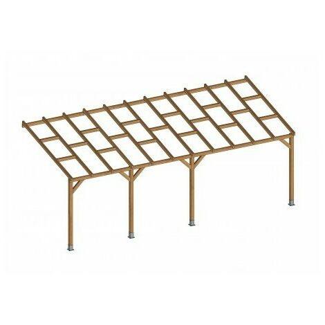 Toit Terrasse en bois 3x6,8 m - Sans toit polycarbonate