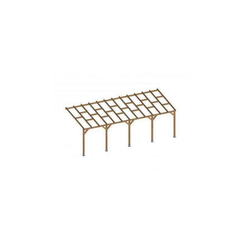 Toit Couv'Terrasse® en bois 3x7,4 m - Sans toit polycarbonate