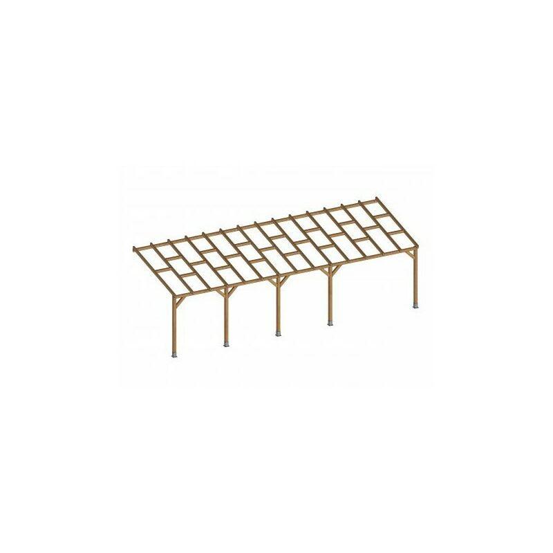 Toit Couv'Terrasse® en bois 3x8,6 m - Sans toit polycarbonate