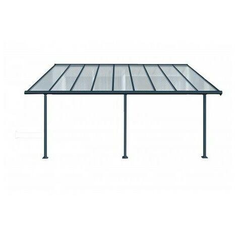 Toit Terrasse SIERRA PATIO COVER 3x5 - Gris (aluminium & polycarbonate) - Gris anthracite