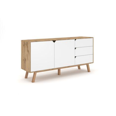 TOKYO | Commode style scandinave chambre/salon/bureau | 164x80x42 cm | Meuble de rangement 3 tiroirs + 2 portes | Aspect bois | Chêne/Blanc