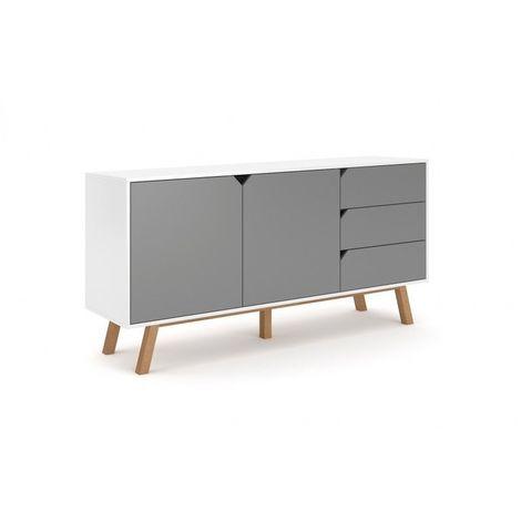 TOKYO | Commode style scandinave chambre/salon/bureau | 164x80x42cm | Meuble de rangement 3 tiroirs + 2 portes | Aspect bois | Blanc/Gris