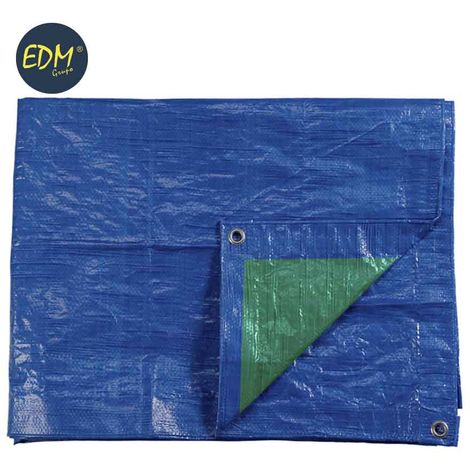 Toldo 6x10mts doble cara Azul/verde ojetes de metal densidad 90grs/m2 EDM