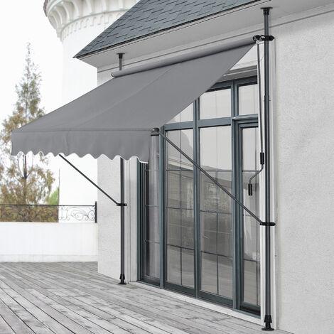 Toldo articulado con armazón - 200 x 120 x 200-300 cm - Toldo enrollable terraza balcón - Protector de sol - Parasol - Gris medio