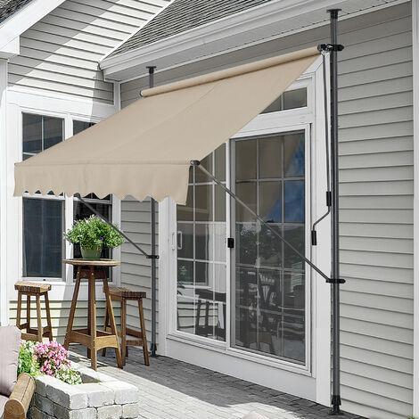 Toldo articulado con armazón - Color de arena - 200 x 120 x 200-300 cm - Toldo enrollable terraza balcón - Protector de sol - Parasol
