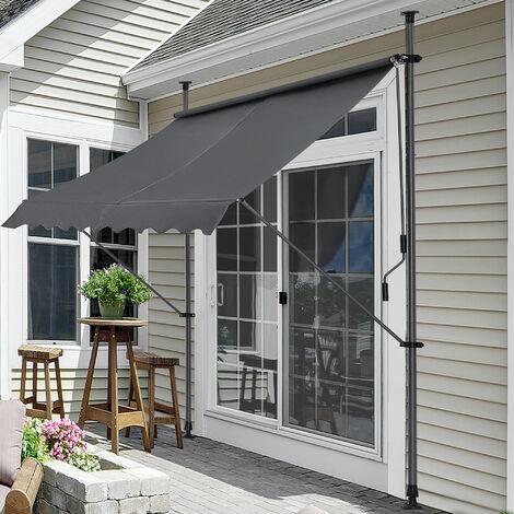 Toldo articulado con armazón - Gris - 250 x 120 x 200-300 cm - Toldo enrollable terraza balcón - Protector de sol - Parasol