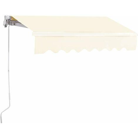 Toldo con Brazo Plegable de 2,5 x 2 Metros Toldo Manual Impermeable y Resistente a los Rayos UV Toldo para Balcón Terraza Puerta Ventana (Beige)