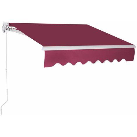 Toldo con Brazo Plegable de 3 x 2,5 Metros Toldo Manual Impermeable y Resistente a los Rayos UV Toldo para Balcón Terraza Puerta Ventana (Vino rojo)