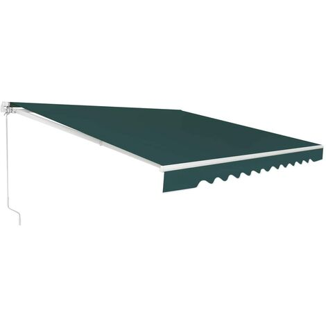 Toldo con Brazo Plegable Toldo Manual con Protección Solar Toldo Retráctil para Balcón Terraza Puerta Exterior (Verde, 300x250cm)