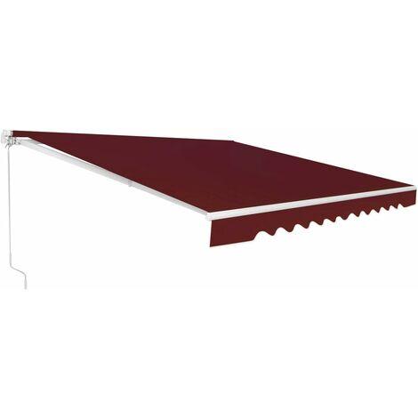 Toldo con Brazo Plegable Toldo Manual con Protección Solar Toldo Retráctil para Balcón Terraza Puerta Exterior (Vino, 360x300cm)