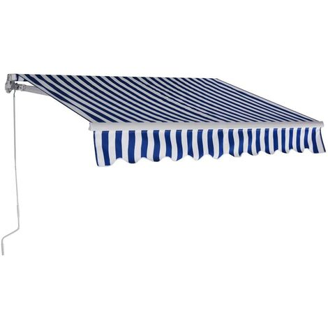 Toldo con Brazo Toldo Manual de 3 x 2,5 Metros Toldo con Manivela para Balcón Terraza (Azul y Blanco)