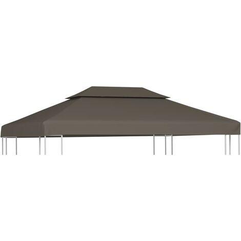 Toldo de cenador 2 niveles 310 g/m² 4x3 m gris topo