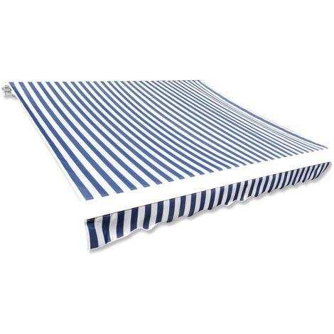 Toldo de lona azul y blanco 4x3 m sin armazón