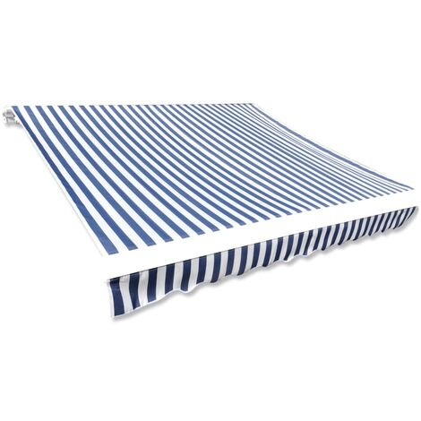 Toldo de lona azul y blanco 4x3 m sin armazón - Azul