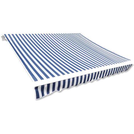 Toldo de lona azul y blanco 6x3 m sin armazón