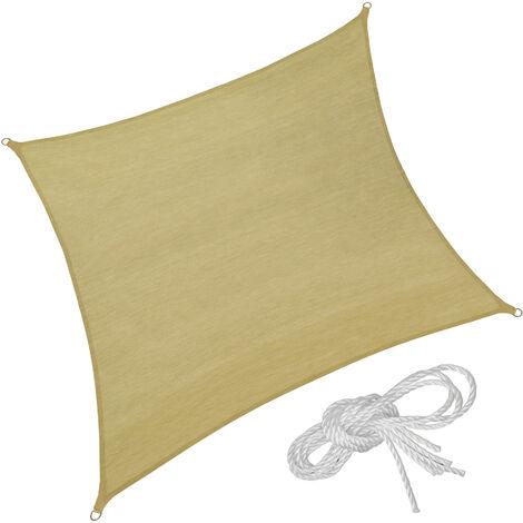 Toldo de polietileno con forma cuadrada, variante 1 - toldo cuadrangular con cuerdas tensoras, toldo para sombra en jardín con anillas de acero, lona para terraza lavable transpirable
