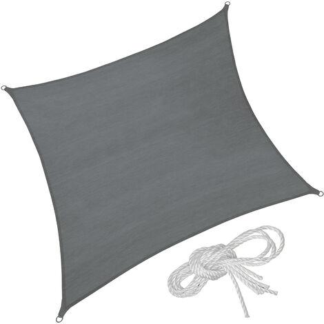 Toldo de polietileno con forma cuadrada, variante 2 - toldo cuadrangular con cuerdas tensoras, toldo para sombra en jardín con anillas de acero, lona para terraza lavable transpirable